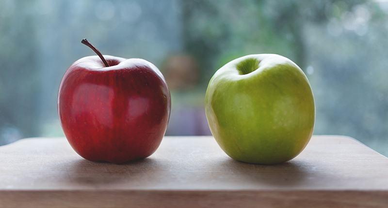 Manzana roja vs Manzana verde