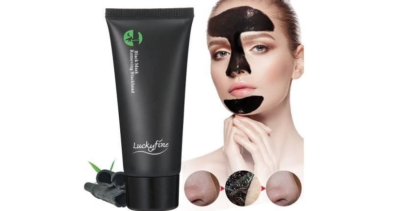 mejores exfoliantes faciales - Luckyfine Mascarilla Carbon Activo, Mascarilla exfoliante limpiadora para Puntos Negros y Acné, Black mask peel off, Mascara limpieza facial profunda