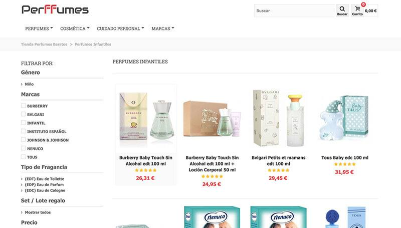 perfumes infantiles en tienda online perffumes.com