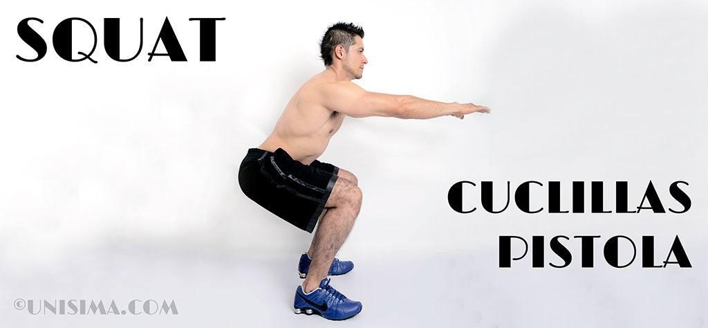 ejercicios perder barriga: Squat o cuclillas pistola