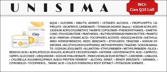 Ingredientes CienQ10 Lidl - INCI