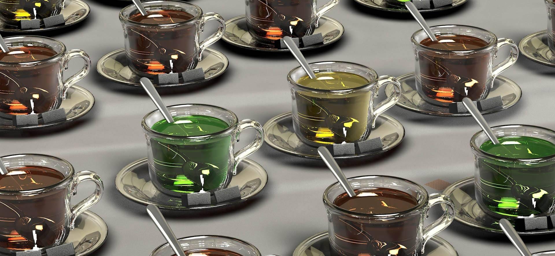 Tipos de té en tazas de té