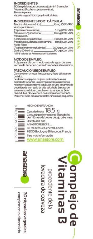 Anastore Etiqueta Complejo Vitaminas B Suplemento
