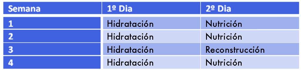 Tabla del cronograma capilar de la condición de nuestro pelo