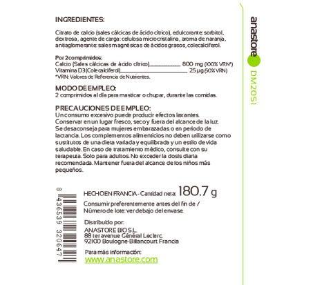 Anastore Etiqueta Calcio + Vitamina D3 Suplemento