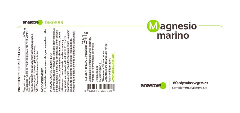 Anastore Etiqueta Magnesio marino Suplemento