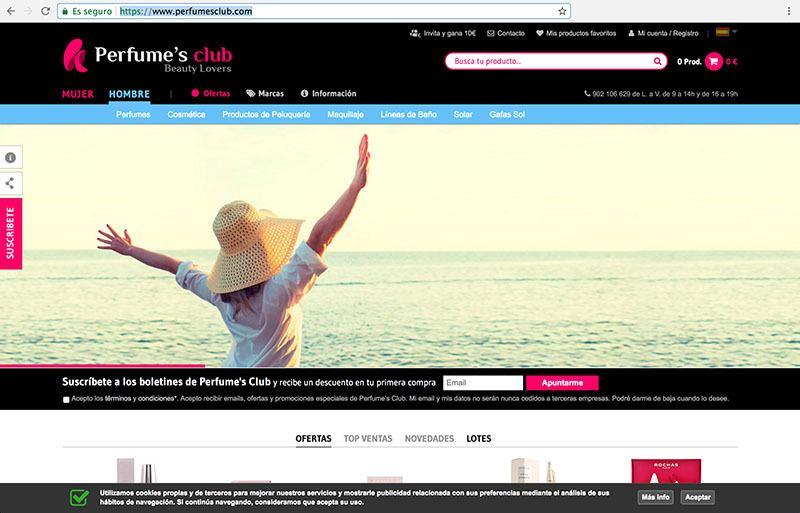 Entrar en la web Perfumes Club