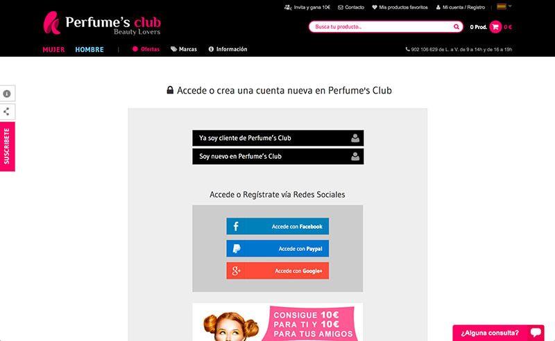 pantalla registro en perfumes club