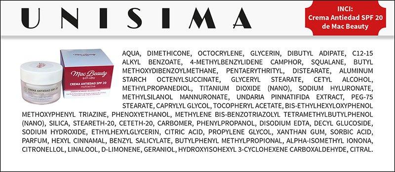 Ingredientes Crema Antiedad SPF20 de Mac Beauty - INCI