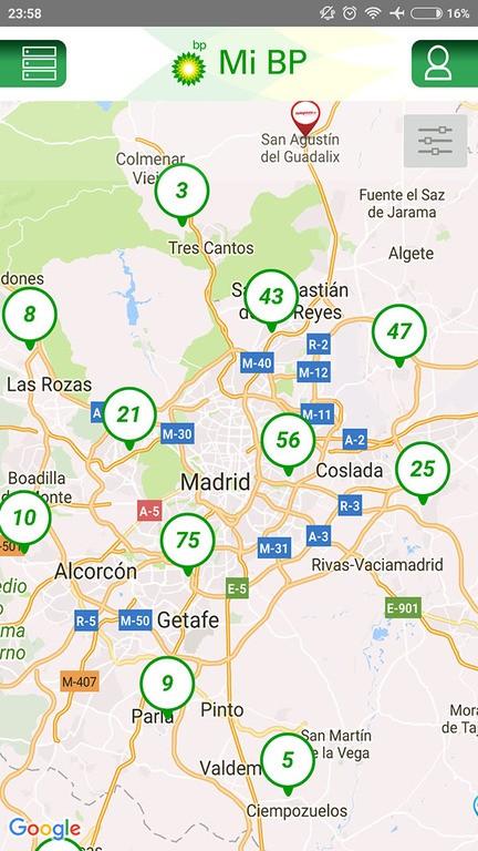 estaciones cercanas mapa app mi bp