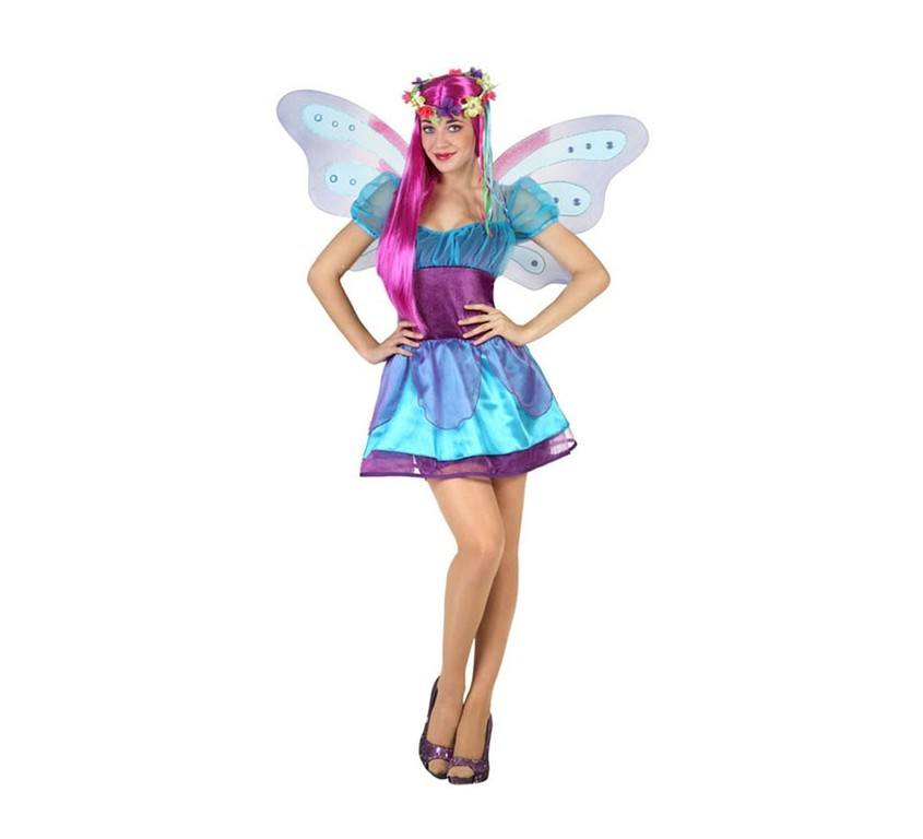 disfraz carnaval hada invierno azul y lila