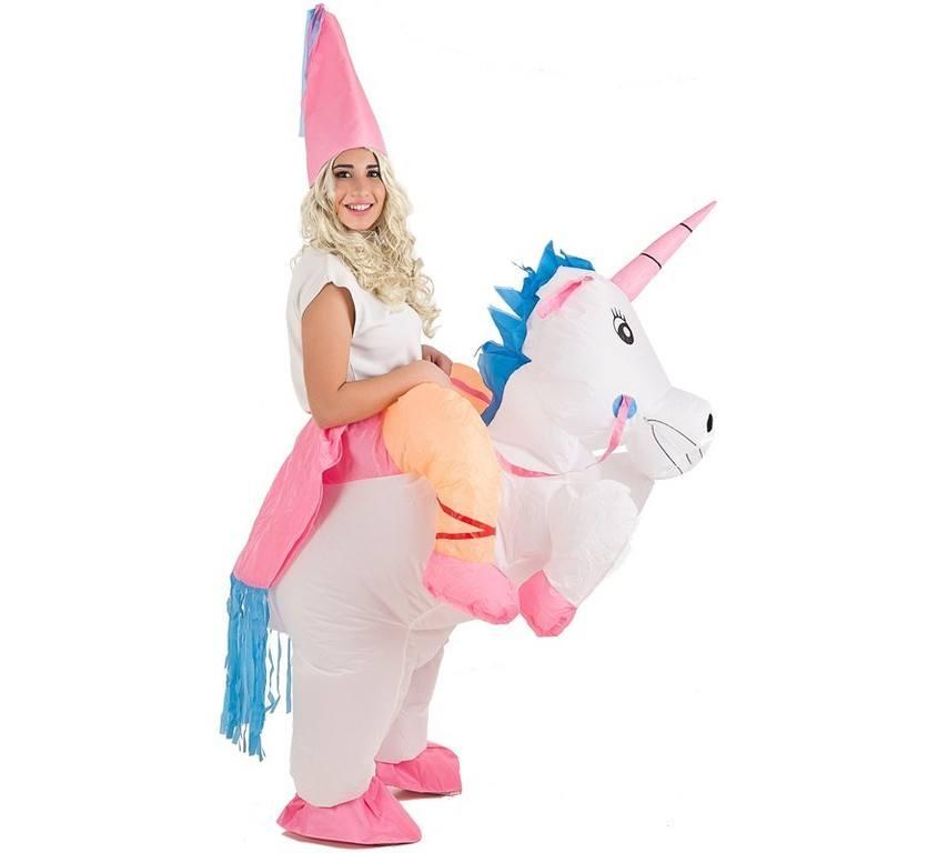 Disfraz carnaval hada montada en unicornio