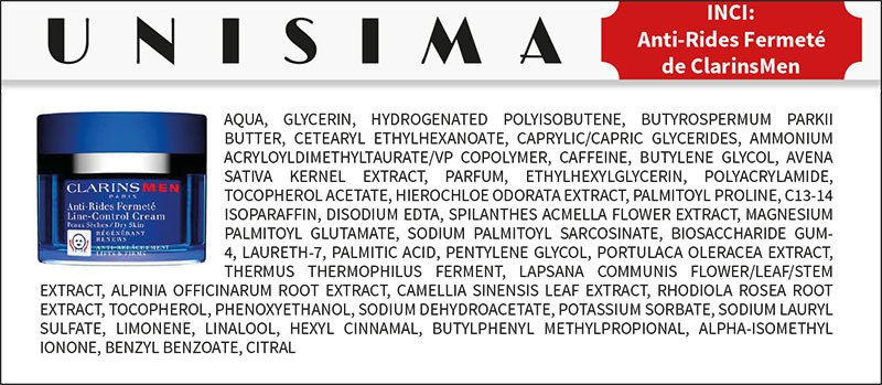 Ingredientes Clarins Antirides Fermeté Line Control Balm Clarins Men - INCI