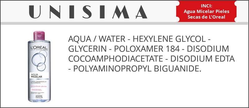 inci agua micelar loreal